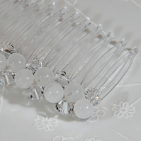 SALE! Bridal hair comb, Swarovski Crystal & Snow Jade comb, Hair comb, Veil comb
