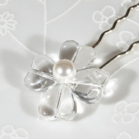 5 Flower wedding hair pins, Glass & pearl pins, bridal hair pins, Prom