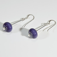 Purple earrings, Lampwork sterling earrings, Secret Santa, Stocking filler