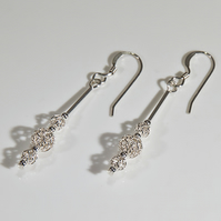 Sterling Silver earrings, Silver bead earrings, Secret Santa, Stocking filler