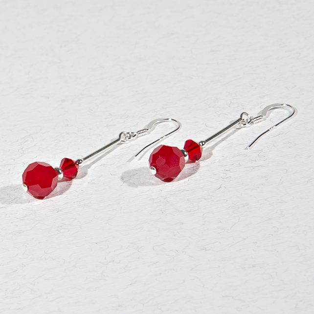 Red earrings, Swarovski® Crystal Sterling Silver earrings, Drop earrings