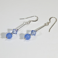 Blue earrings, Gemstone & Swarovski Sterling earrings, Secret Santa,
