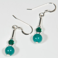 Teal green earrings, Jade & Emerald Swarovski Crystal Sterling earrings