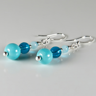 Blue earrings, Turquoise & teal glass beaded silver plated earrings