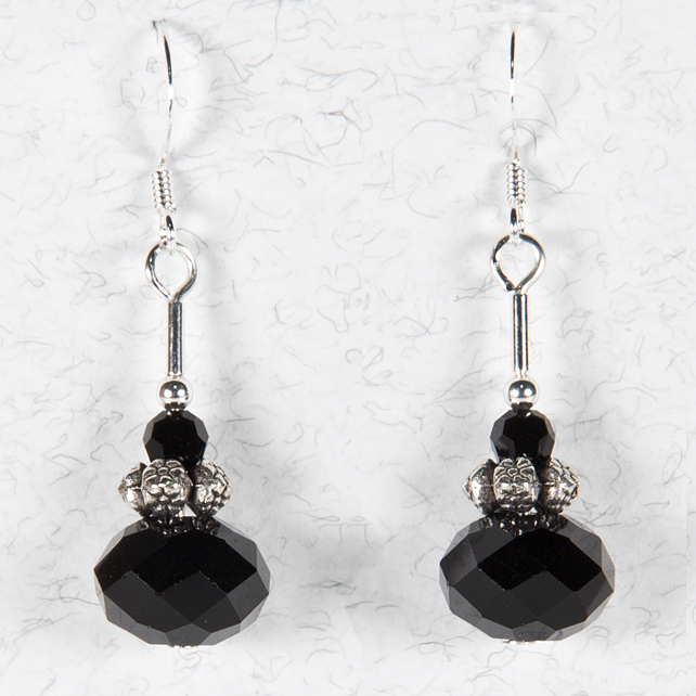 SALE! Black glass earrings, Jet & silver drop earrings, Bead earrings