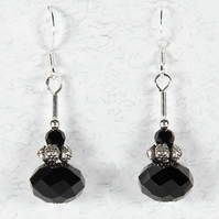 Black glass earrings, Jet & silver drop earrings, Secret Santa, Stocking filler