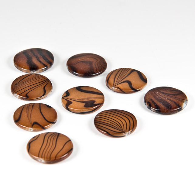 x9 Shell beads, Brown flat beads with black graphic decoration, De-stash