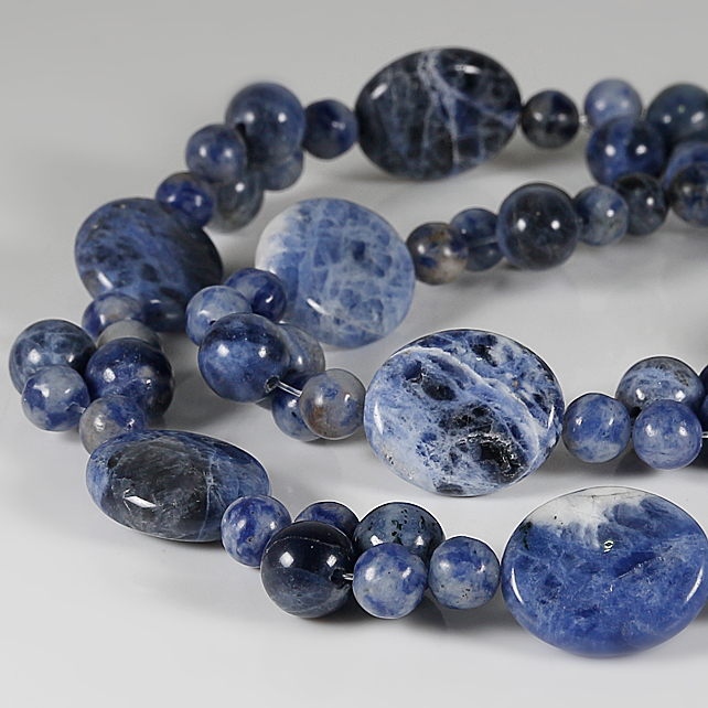 RESERVED FOR ELIZABETH: Sodalite gemstone necklace, Sterling beaded necklace