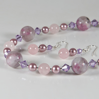 Pink necklace & earrings set, Gemstone, crystals & pearls silver jewellery set