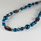 Blue necklace, Mother of Pearl & Swarovski Crystal Sterling Silver necklace