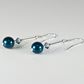 Blue earrings, Petrol Blue Swarovski pearls & crystals Sterling Silver earrings