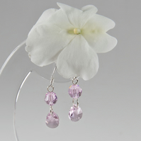 Rose pink earrings, Rosaline Swarovski Crystal Sterling Silver earrings