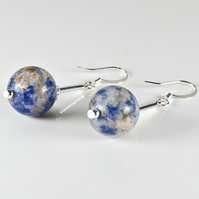 Blue Earrings, Blue-grey Agate earrings, Stocking filler, Secret Santa