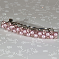Pink hair clip, Powder Rose Swarovski pearl & Rosaline cut glass hair slide