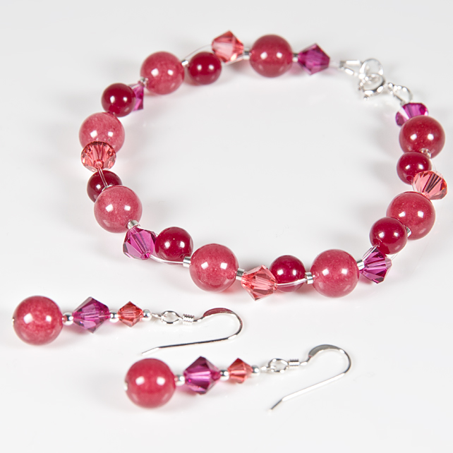 Pink-Red Bracelet & Earrings set, Gemstone & Swarovski® Sterling jewellery