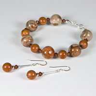 SALE! Golden brown bracelet & earrings set, Gemstone & Swarovski® jewellery
