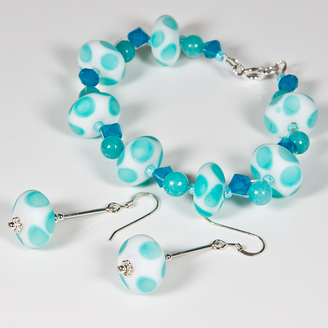 SALE! Turquoise bracelet & earrings, Lampwork gemstone & Swarovski® jewellery