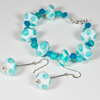 Turquoise bracelet & earrings, Lampwork gemstone & Swarovski® jewellery
