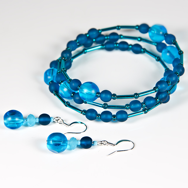 SALE! Turquoise bracelet & earrings set, Teal glass beaded jewellery set