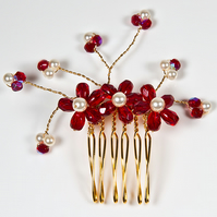 Red hair comb, Ruby red & white pearl bridal comb, Christmas wedding hair comb