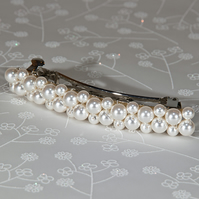 White pearl hair slide, Swarovski® hair clip, Wedding hair accessory, Barrette