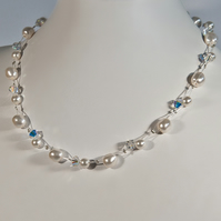 Pearl & Crystal wedding necklace, Swarovski bridal necklace, Illusion necklace