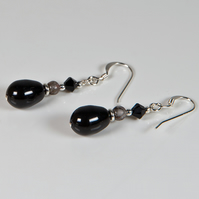 Black earrings, Swarovski Pearl & gemstone Sterling Silver earrings