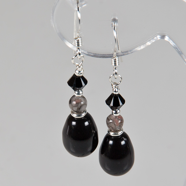 Black earrings, Swarovski® Pearl & gemstone Sterling Silver earrings