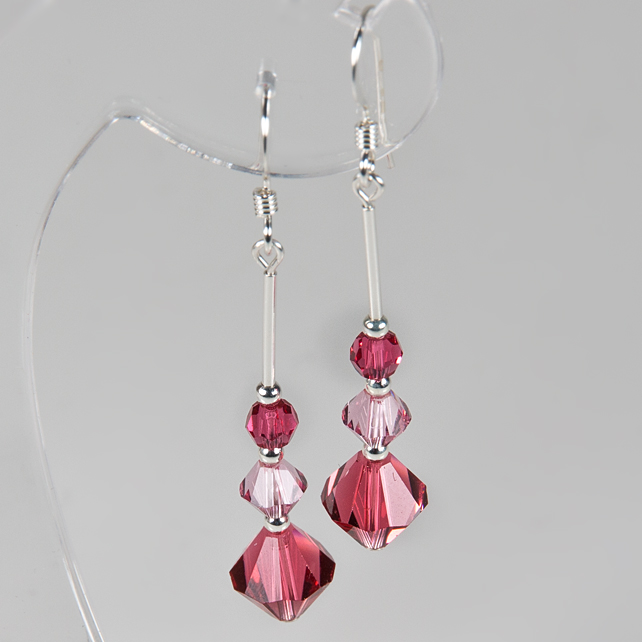 Pink crystal earrings, Swarovski® Crystal Sterling Silver earrings