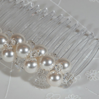 Pearl & crystal comb, Swarovski® bridal hair comb, Wedding veil comb