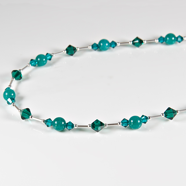 SALE! Teal green necklace, Sterling Silver jade & Swarovski® Crystal necklace
