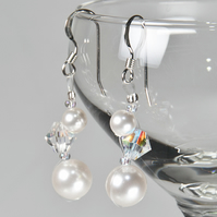 Swarovski® bridal earrings, Pearl & Crystal wedding earrings, Prom jewellery