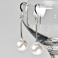 Pearl bridal earrings, White Swarovski® Pearl wedding earrings, Prom jewellery
