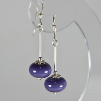 Purple earrings, Lampwork glass beads & Sterling Silver earrings,
