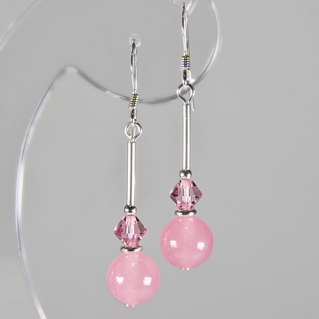 Pink earrings, Gemstone & Swarovski® earrings, Sterling Silver, Rose pink