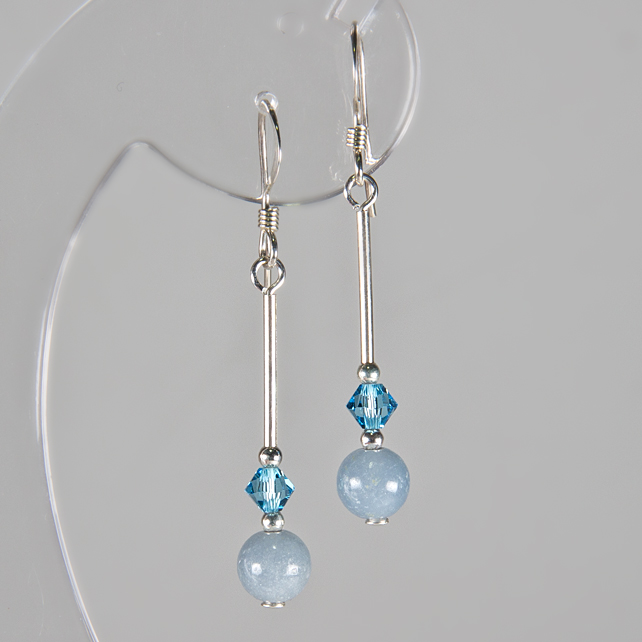 SALE! Blue earrings, Blue Angelite & Aqua Swarovski® Crystal Sterling earrings