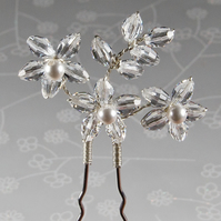 Swarovski® flower pin, Statement bridal hair pin, Crystal hair accessory