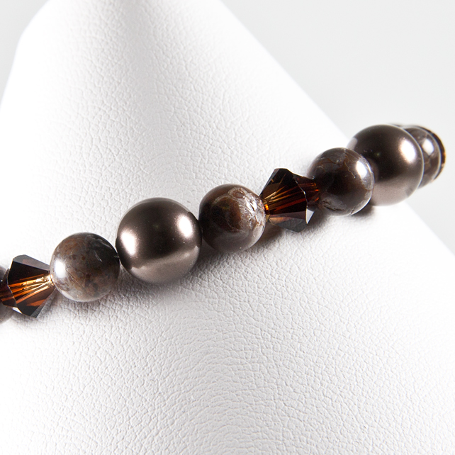 Brown bracelet, Chocolate Agate Swarovski® Brown pearls & Topaz Blend crystals