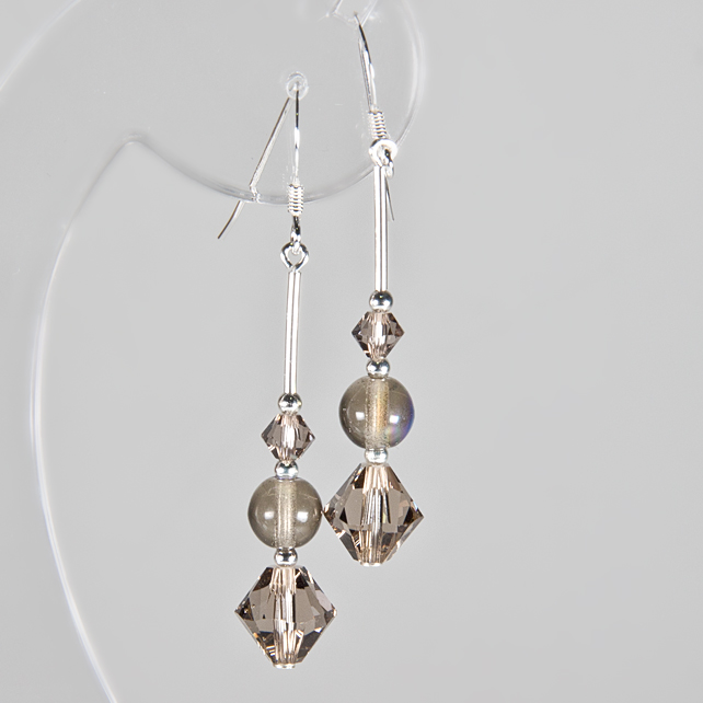 SALE! Swarovski® grey earrings, Greige crystals & Grey AB glass silver earrings