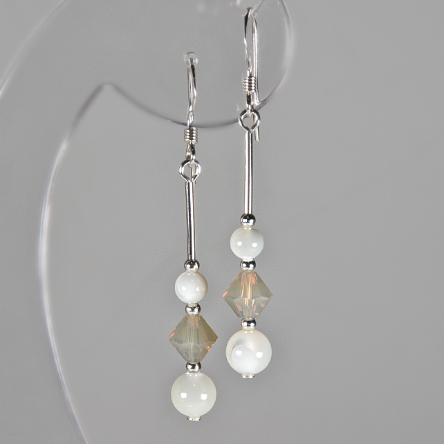 SALE! Pearl earrings, Mother of Pearl & Swarovski® Sterling Silver earrings