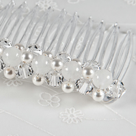 SALE! Crystal hair comb, Swarovski® crystal pearl & gemstone wedding comb, Prom