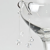 SALE! Swarovski® wedding earrings, Illusion bridal earrings, Prom jewellery
