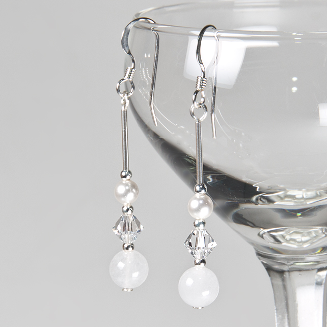 SALE! Crystal & Gemstone earrings, Snow Jade & Swarovski® bridal earrings, Prom