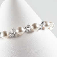 Pearl & crystal bracelet, Swarovski® bridal bracelet, wedding or Prom jewellery