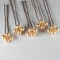 SALE! 5 Gold bridal hair pins, Swarovski® Pearl wedding pins, Prom accessories