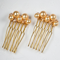 SALE! 2 Gold bridal combs, Swarovski® wedding hair combs, Prom hair accessories