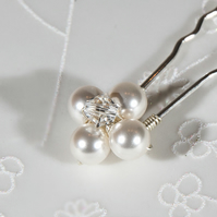 3 Pearl hair pins, Swarovski® pearl pins, Wedding or Prom hair accessories