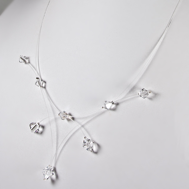 Crystal illusion necklace, Swarovski® bridal necklace, Wedding or Prom jewellery