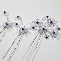 3 flower hair pins, Violet purple hair accessories, Wedding or Prom, Bridesmaid