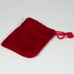 x10 velour bags, red drawstring jewellery pouches, jewellery presentation